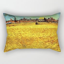 Sunset at Wheat Field by Vincent van Gogh Rectangular Pillow