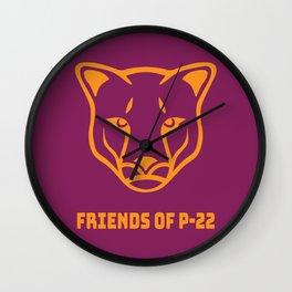 P22 Mountain Lion Orange Maroon Wall Clock