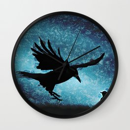 Descent of the Midnight Rook Wall Clock