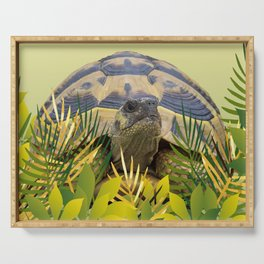 Tortoise Turtle jungle leaves green #society6 #animals Serving Tray