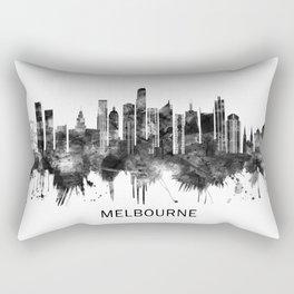 Melbourne Australia Skyline BW Rectangular Pillow