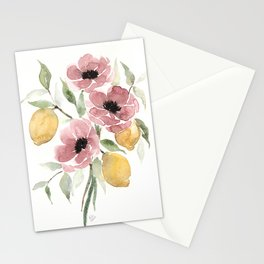 Watercolor-poppies-and-lemons Stationery Cards