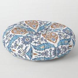 Iznik Tile Pattern Blue White Brown Floor Pillow