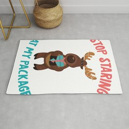Stop Staring At My Package Cute Moose Christmas Gift  product Rug