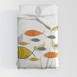 Mid Century Modern Fish, Marine Life Comforters
