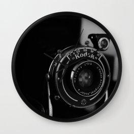 Vintage Analog Kodak Camera Close-up | Black & White | Product Photography | Fine Art Photo Print Wall Clock