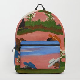 African American Masterpiece 'Six Figures Picking Cotton' folk art painting by Clementine Hunter Backpack