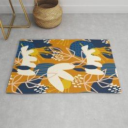 Abstract Floral - Blue + Orange Rug
