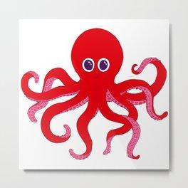 Octopus (Red) Metal Print