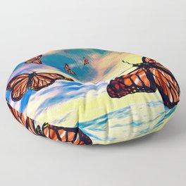 Flying Monarch Butterflies Floor Pillow