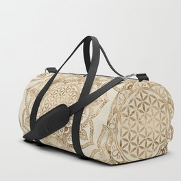 Flower of Life in Lotus - pastel golds and canvas Duffle Bag
