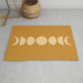 Minimal Moon Phases - Orange Rug
