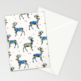 Patched Stag Deer Silhouette Stationery Cards