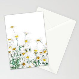 white margaret daisy horizontal watercolor painting Stationery Cards