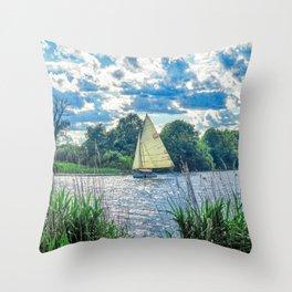 Sailing The River Throw Pillow