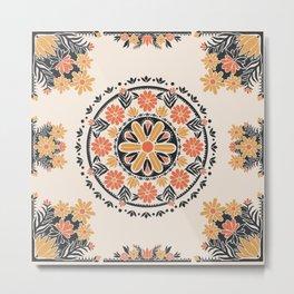 Wildflower Mandala Tapestry Pattern Metal Print