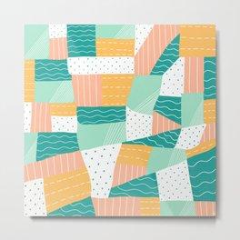 modern voyager quilt, peach Metal Print