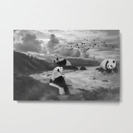 Giant Panda at the Beach Metal Print