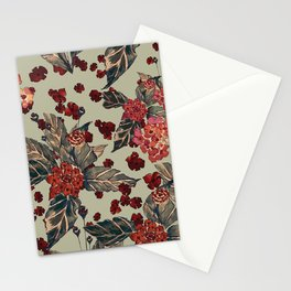 Deep moody floral watercolor Stationery Cards