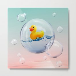 The Bubble Ducky Metal Print