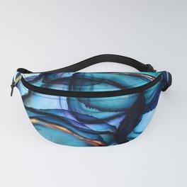 Lakes - Aqua, Blue and Gold Digital Abstract Fanny Pack