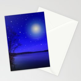 Moon and Stars Landscape Stationery Cards