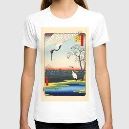 Cranes Japanese Woodblock Ukiyo-e T-shirt