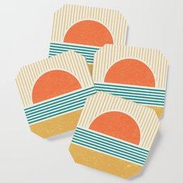 Sun Beach Stripes - Mid Century Modern Abstract Coaster