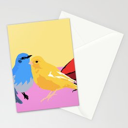 A flock of sweet colorful birds Stationery Cards