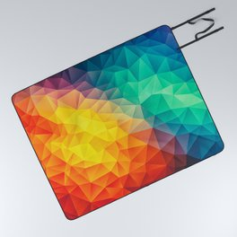 Abstract Polygon Multi Color Cubism Low Poly Triangle Design Picnic Blanket