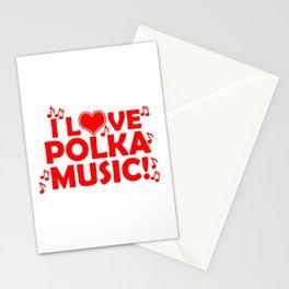 I Love Polka Music Stationery Cards