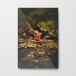 Lonely Red Shroom - Neon by Nature - @zekekitchen Metal Print