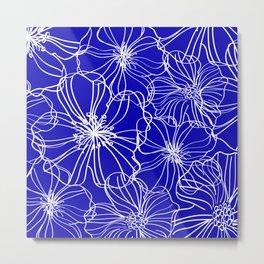 Floral, Line Art, Blue and White, Minimal Art Metal Print