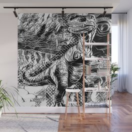 T-Rex Pen and Ink Wall Mural