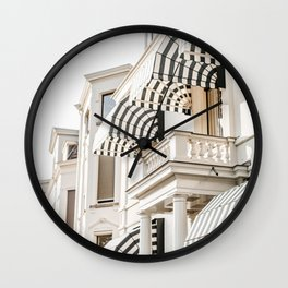 Black and white striped awnings. Minimalistic print - fine art photography Wall Clock