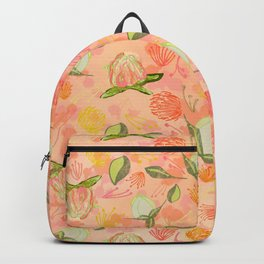 Peony Buds Abound Pattern on Coral Background with Watercolor Splotches Backpack