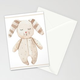 Bunny kids toy in watercolor Stationery Cards