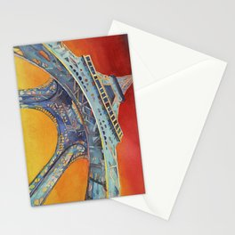 Fine art watercolor painting of portion of the Eiffel Tower at sunset- Paris, France Stationery Cards