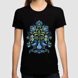 Hungarian Folk Design Blue Birds T-shirt