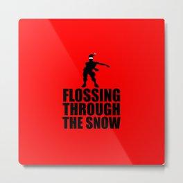 flossing through the snow funny Xmas Metal Print