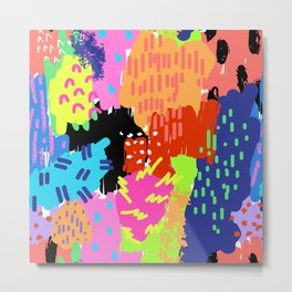 Neon Abstract Summer Splash Metal Print