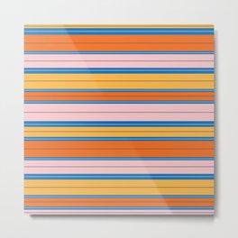 Stripes in Orange, Peach, and sky blue Metal Print