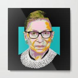 Blue Ruth Bader Ginsburg Metal Print