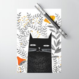 black cat with botanical illustration Wrapping Paper