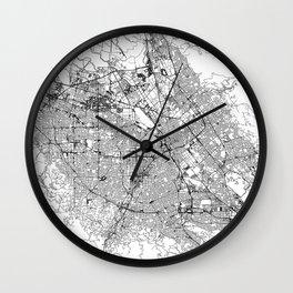 San Jose White Map Wall Clock