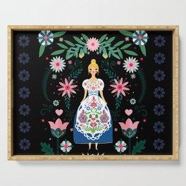 Folk Art Forest Fairy Tale Fraulein Serving Tray
