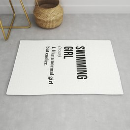 Swimming Girl Funny Quote Rug