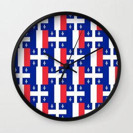Mix of flag: France and Quebec Wall Clock