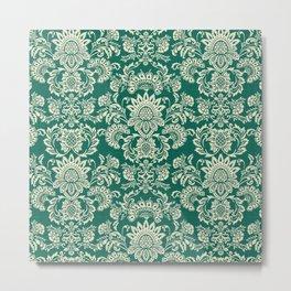 Damask vintage in green Metal Print