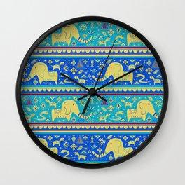 Walking With Elephants Wall Clock